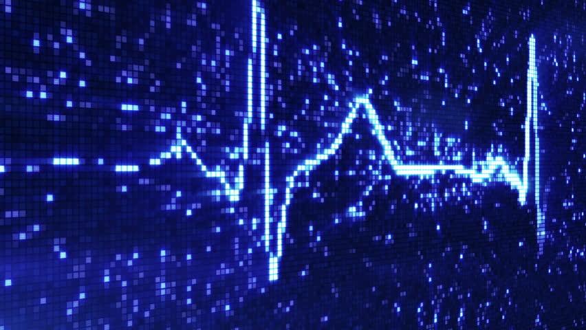 digital pixel EKG electrocardiogram pulse blue loopable background