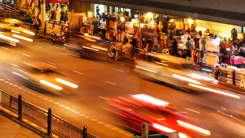 Busy night traffic in Bangkok | Shutterstock HD Video #3685502