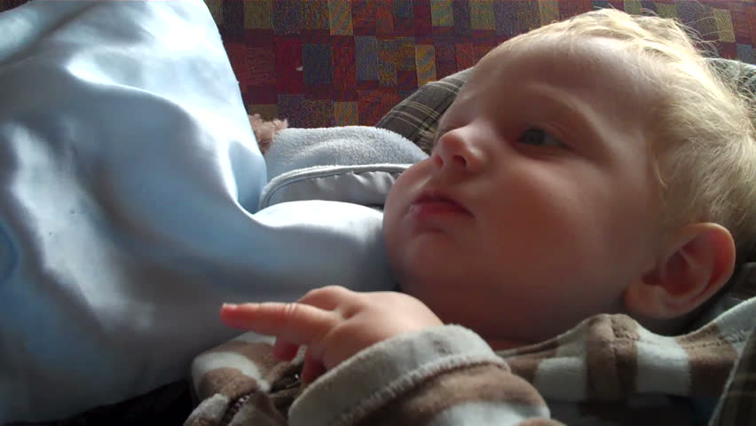 cute baby talking and babble with sound