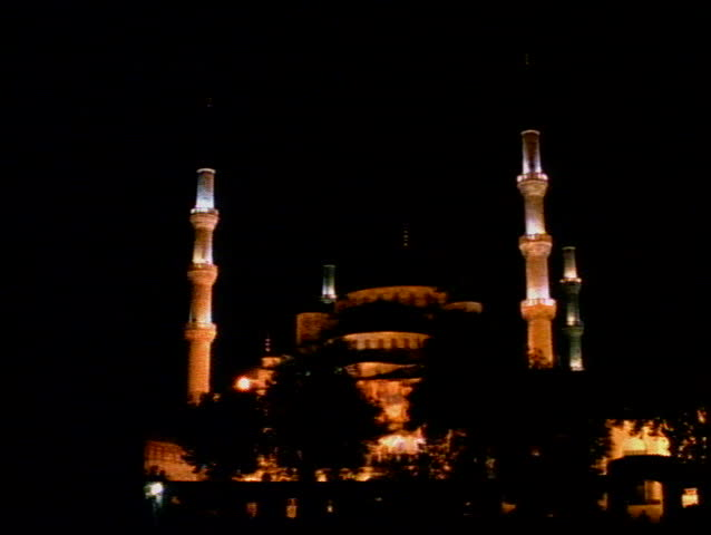 The Blue Mosque of Istanbul at night with four minarets