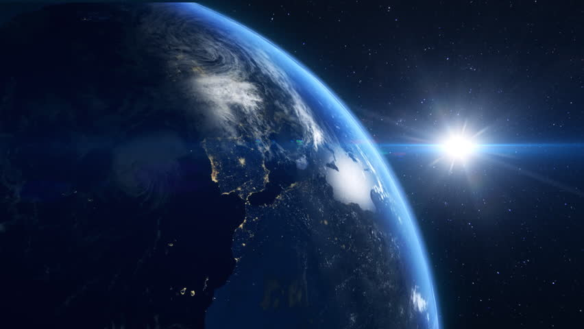Close up of the earth rotating and looping forever with moving stars in the background | Shutterstock HD Video #3703118