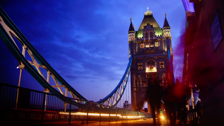 Rush hour in London, view to the Tower Bridge night,time lapse | Shutterstock HD Video #3705893