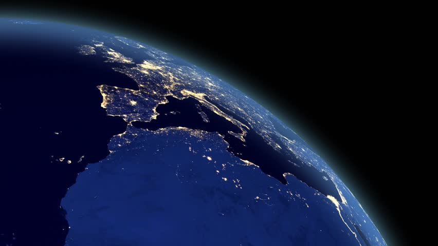 Planet Earth rotating by night, close up - seamless loop #3725519