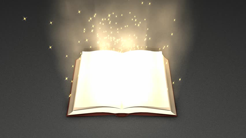 Magical book zoom in animation.