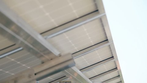 Shot of a roof from below which has solar power modules