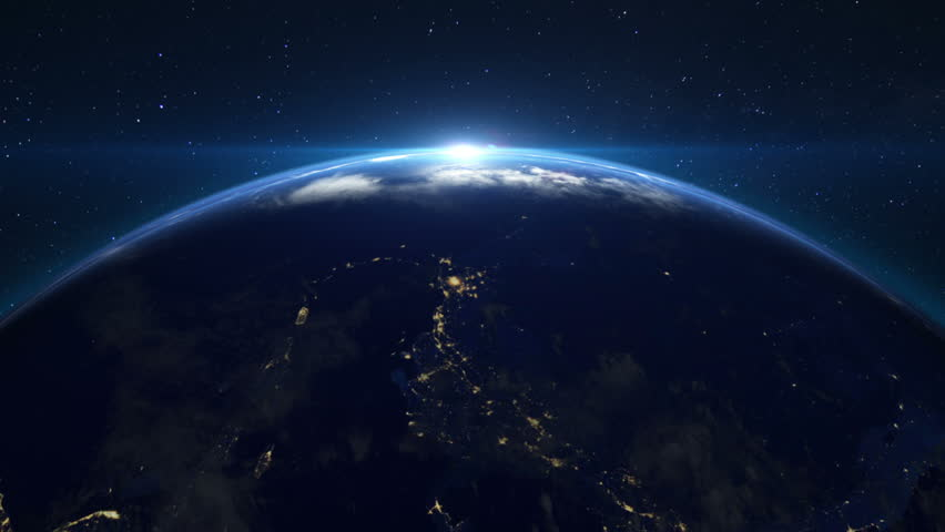 The sun rising over the earth in space  | Shutterstock HD Video #3750389