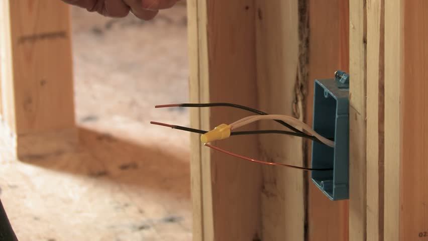 attractive new construction electrical wiring #5: Electrician Wiring Wall Outlet Box In New Construction Stock Footage Video  375214 | Shutterstock