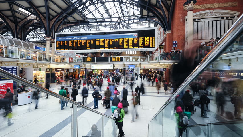 LONDON, UNITED KINGDOM - APRIL 9: Commuters inside Liverpool Street Station on April 9, 2013 in London, UK. The annual rail passenger usage between 2011 - 2012 was 13.835 million.