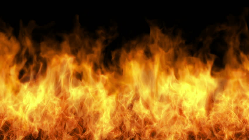 igniting fire wall isolated on black, firewall, white smoke, alpha channel, hd, 1920x1080