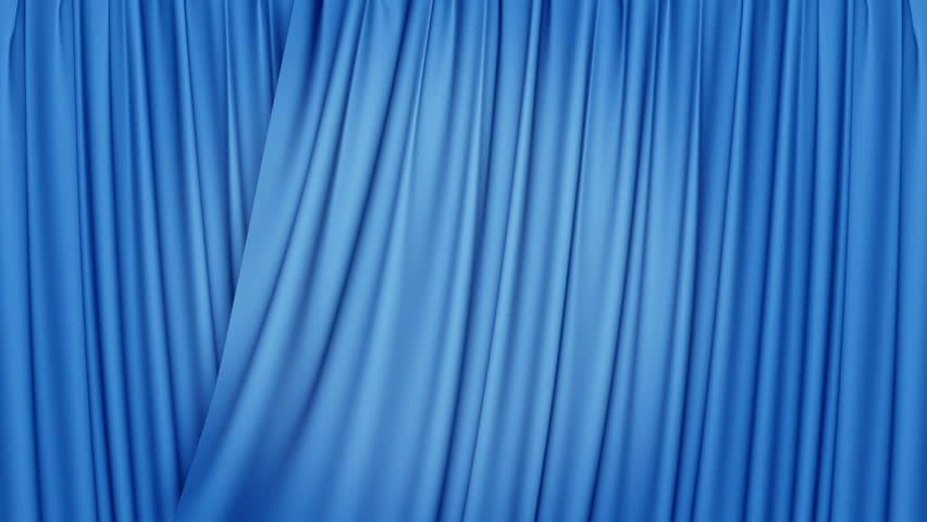 3d blue curtains opening, HD, 1920x1080