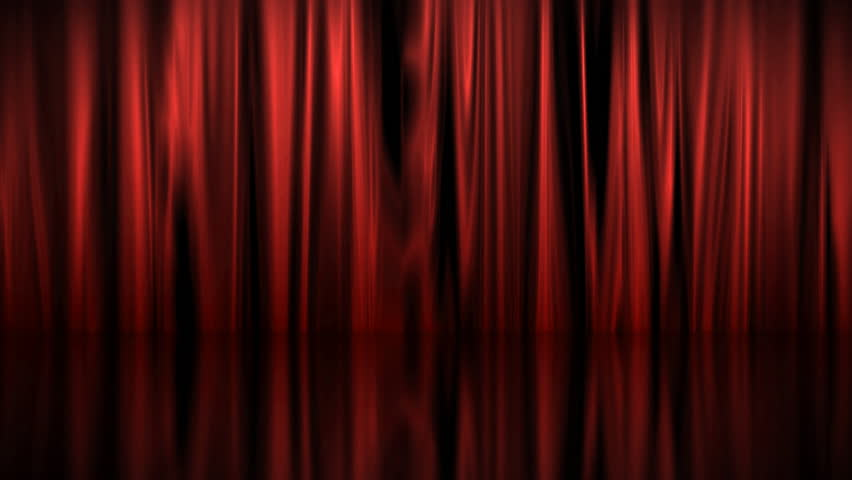 Red curtains rustle above a shiny floor. | Shutterstock HD Video #376468