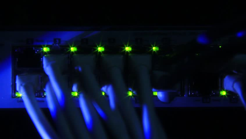 Details from loaded and working network switch. Special effect footage. #3776681
