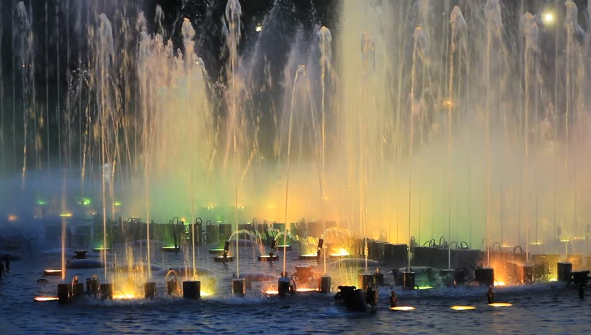 Colorful water fountain at night time