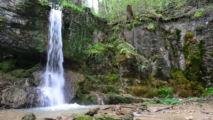 Small Waterfall inside green forest in spring at Linn, Aargau, Switzerland | Shutterstock HD Video #3800537