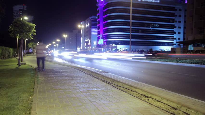 Dubai Street At Night Time Lapse.  | Shutterstock HD Video #3807353