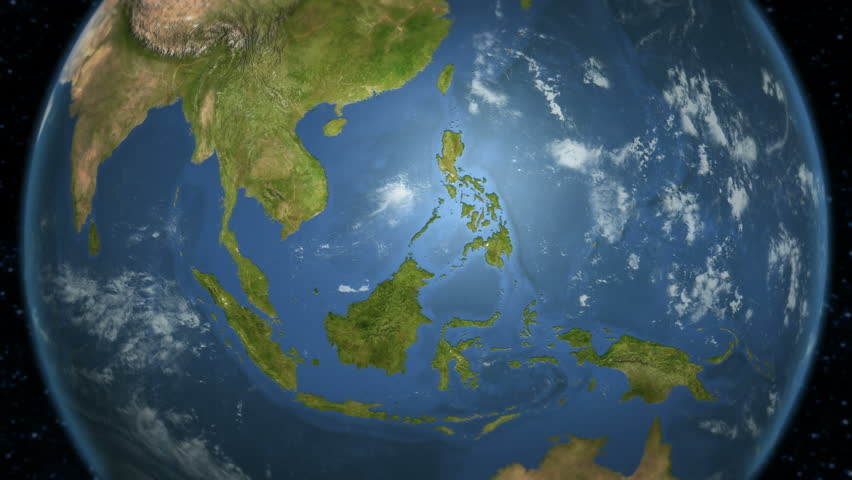 Loop-able spinning Earth with South East Asia country maps displaying.