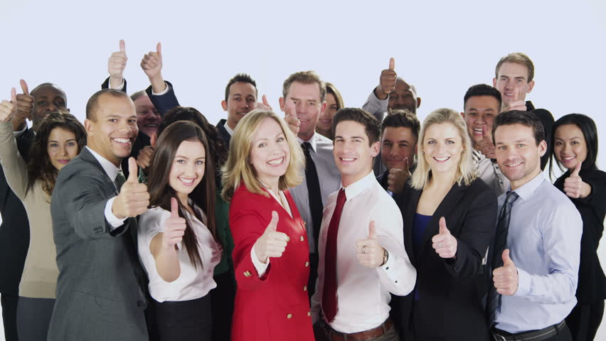 Portrait of a large group of happy and diverse business people who are standing together, isolated on white in a studio shot. They hold their thumbs up to camera to celebrate their business success. | Shutterstock HD Video #3823490