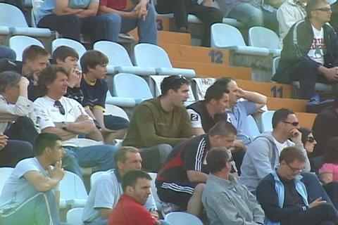 "RIJEKA, CROATIA - APRIL 11: soccer supporters siting on chairs in the match between HNK ""Rijeka"" and HNK ""Varteks"", 2009 in Rijeka, Croatia."