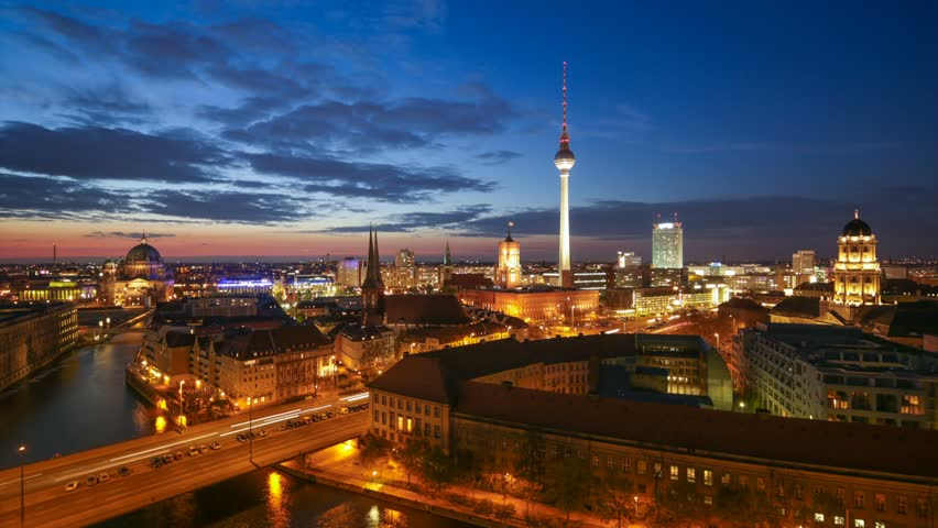 Berlin Skyline Light City Timelapse with Car Traffic and Cloud Dynamic in Full HD 1080p, German Capital