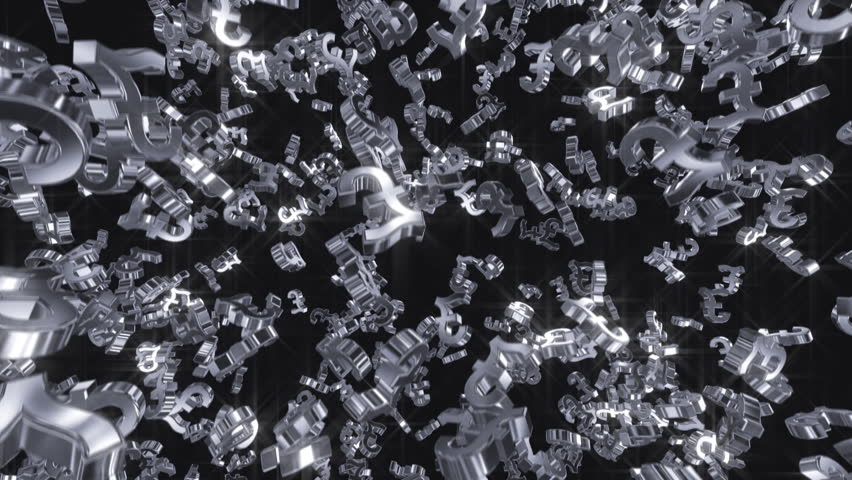 Silver pound signs falling. 10 second HD loop.   Shutterstock HD Video #3841577