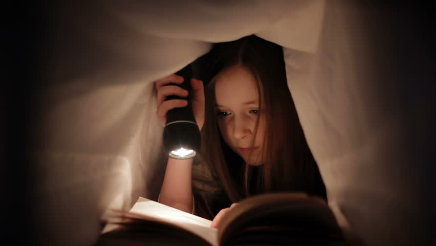 Child Reading in Bed - Little girl reading by torch light under the bed sheets | Shutterstock HD Video #3842993