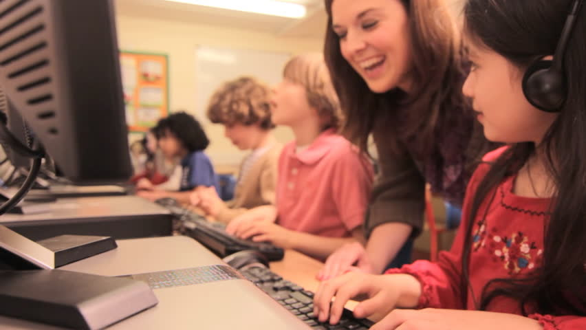 Computer room in a elementary / primary school | Shutterstock Video #3844049