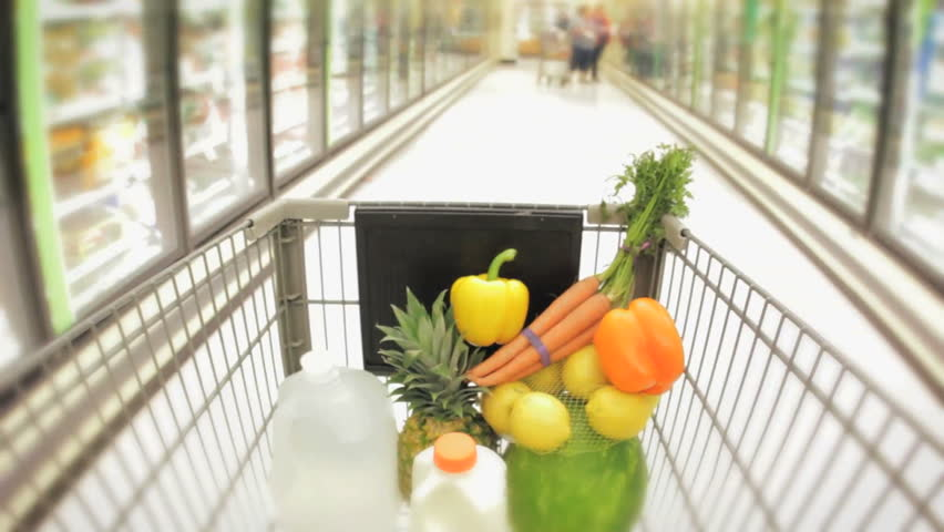 Shopping cart moving through supermarket aisles hidef hd healthy food in the basket  | Shutterstock HD Video #3844853