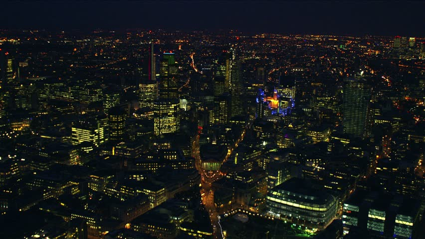 Night-time aerial shot of the City of London financial district