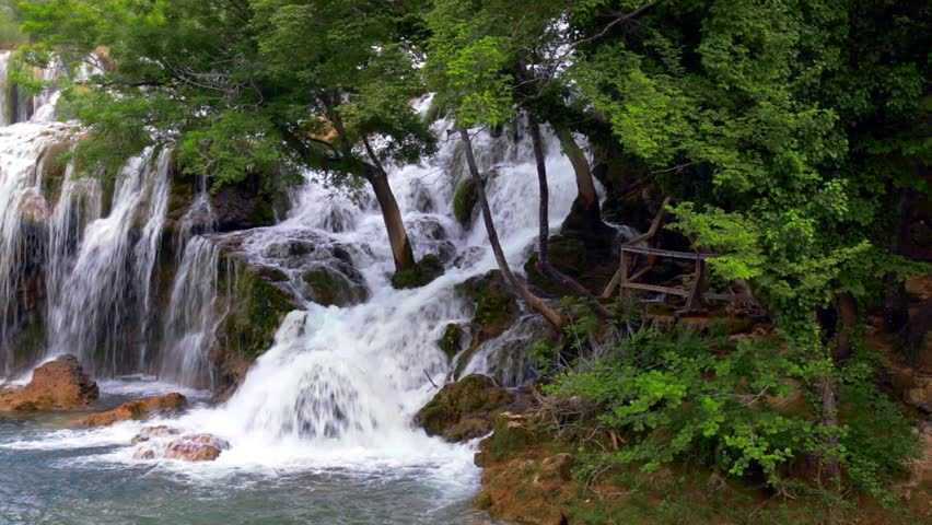 Waterfall in Krka National Park is one of the Croatian nature River