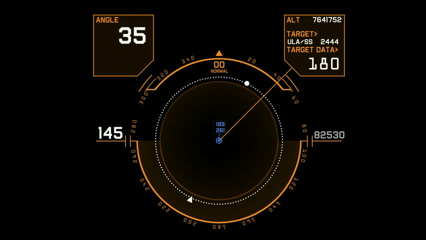 Radar GPS navigation screen display,tech computer software panel.