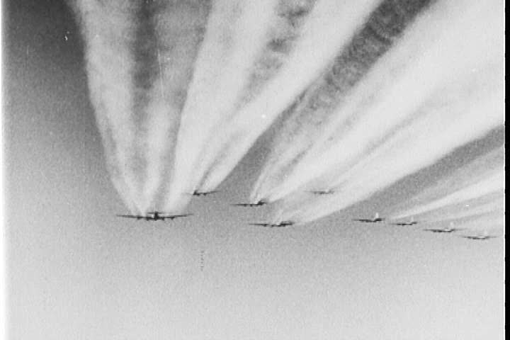 1940s - Good footage of dogfights over Germany, aerial combat footage, and planes being shot down.