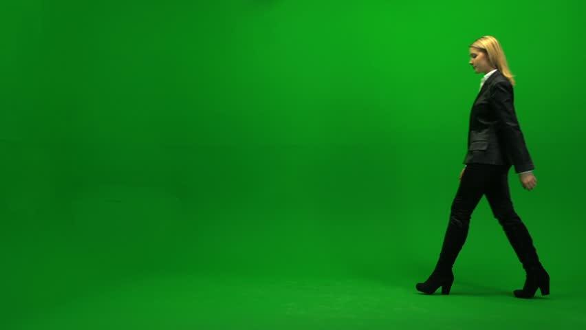 Businesswomen walking against green screen background. successful female worker. career confident. progress. sexy elegant dress | Shutterstock HD Video #3954329