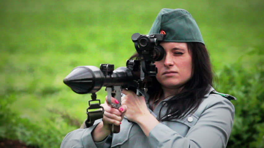 Female officer with RPG7 anti tank gun