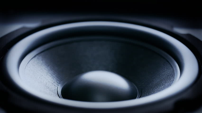 Closeup at moving sub-woofer. Speaker part.  #3965047