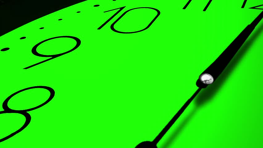3D Clock Ticking Fast Time GREEN AND BLUE KEY CHROME, Camera closeup movement view of super sharp 3D render of a wall clock ticking. Clock is ticking faster than one tick per second. HD 1080.