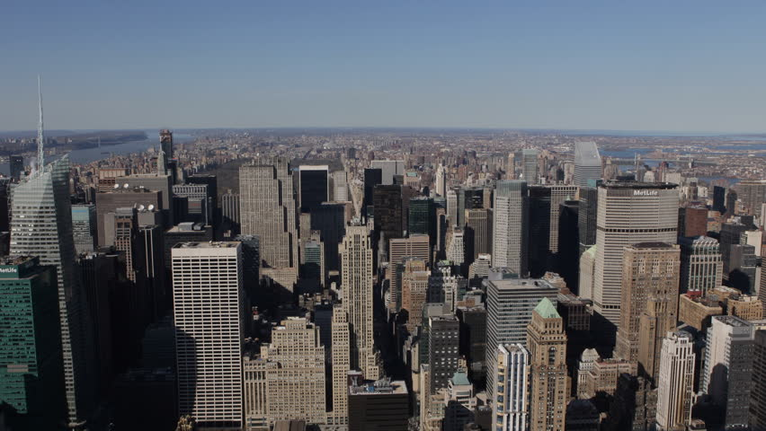 Aerial View of New York City Skyline by day, Midtown Manhattan Skyscrapers, USA