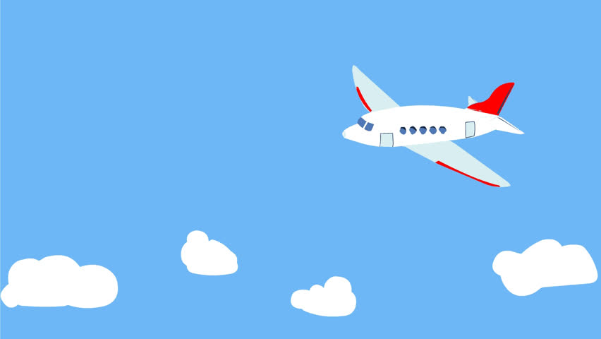 Cartoon Airplane Flying Over The Stock Footage Video 100 Royalty