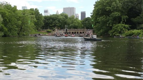 View Of Autumn Landscape. Boats On The Lake In Central Park. New York City.  USA Editorial Photo - Image of architecture, mall: 131448986