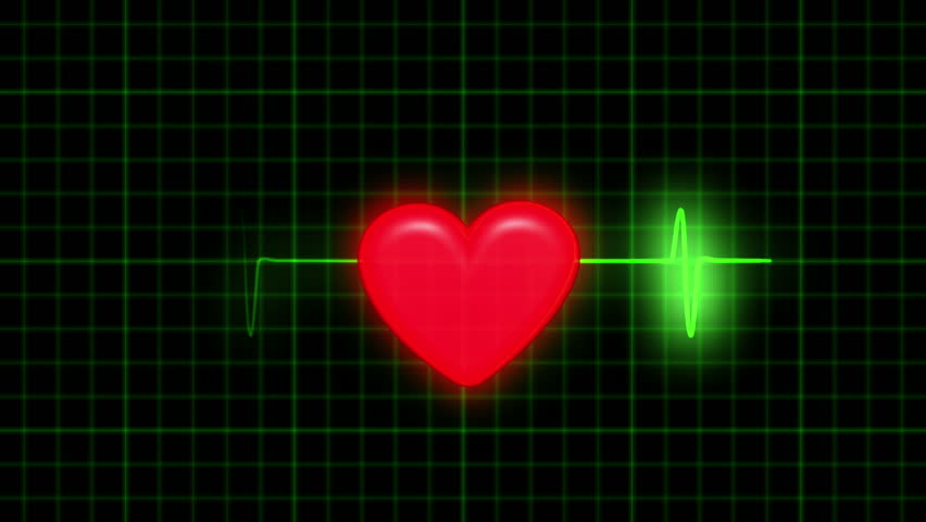 Dark background with a coordinate grid. The green line ECG. Character beats a healthy heart. At the heart appear traces of damage - ECG changes shape and color to red