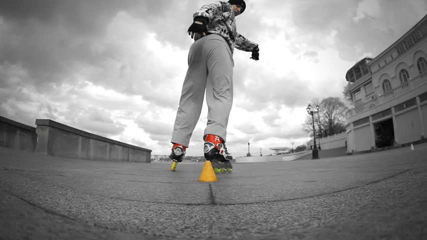 Rides roller skates #3986176