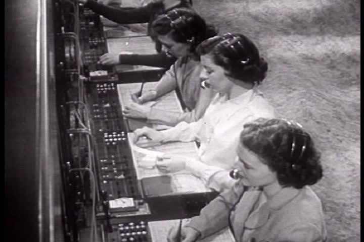 1940s - Telephone switchboard operators in 1949.