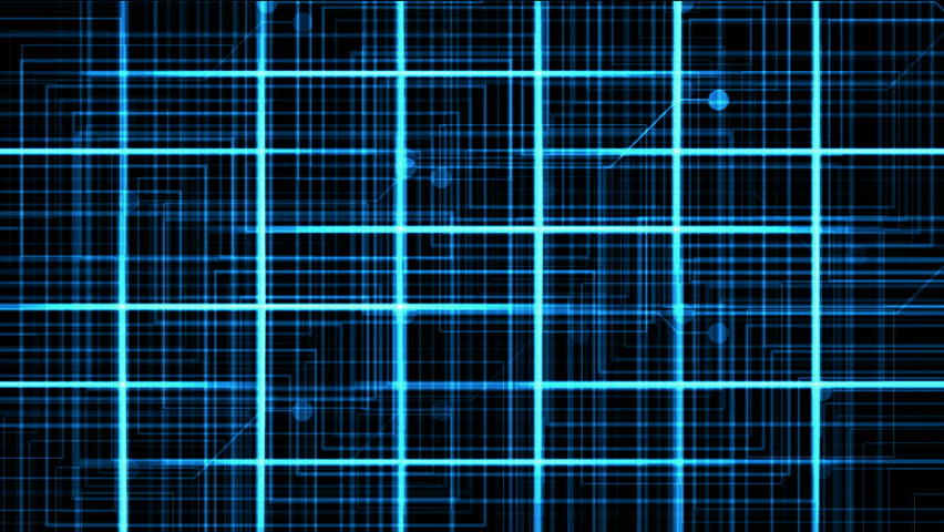 Virtual computer electric circuit,tech power lines grid & dots.   Shutterstock HD Video #4015357