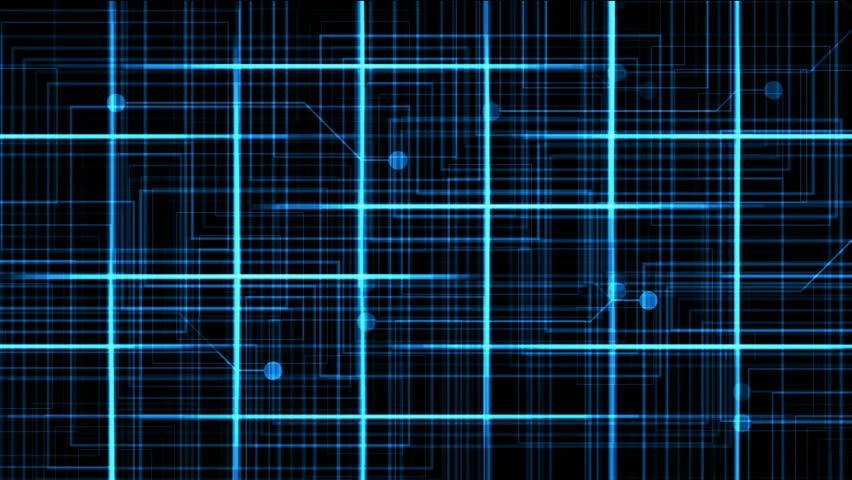 Virtual computer electric circuit,tech power lines grid & dots.   Shutterstock HD Video #4015387