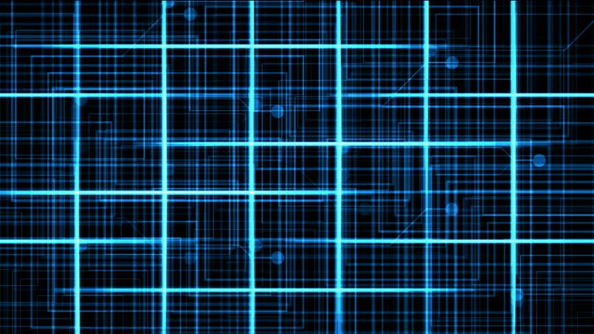 Virtual computer electric circuit,tech power lines grid & dots.   Shutterstock HD Video #4017094
