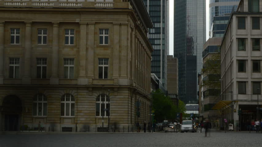 Frankfurt town square with financial district in background time lapse with slow shutter speed and camera zoom out. | Shutterstock HD Video #4020004