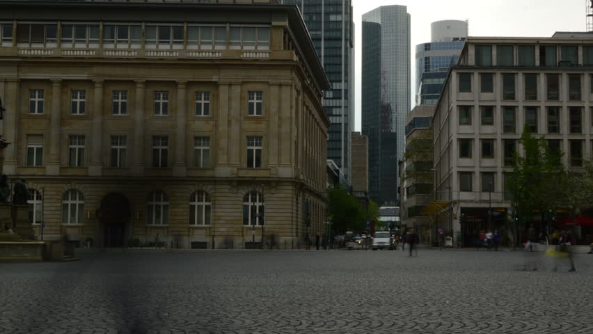 Frankfurt town square with financial district in background time lapse with slow shutter speed. | Shutterstock HD Video #4020007
