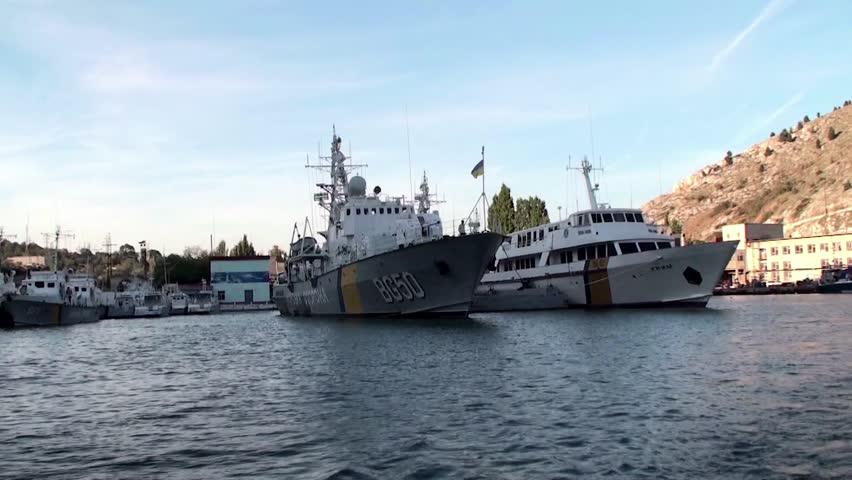 SEVASTOPOL, UKRAINE - SEPTEMBER 07: Warship & the President yacht