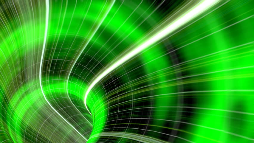 Animated wormhole through space, green