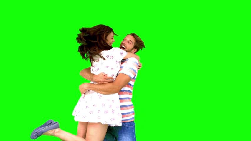Couple meeting again on green screen in slow motion | Shutterstock HD Video #4050373