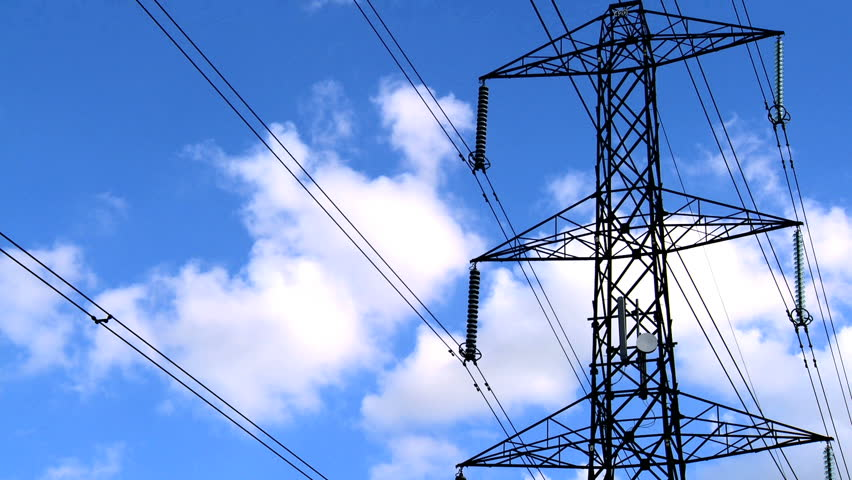 Time-lapse clouds & blue sky behind electricity pylon | Shutterstock HD Video #405385